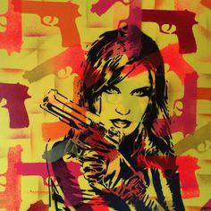 3 DIGITAL DOWNLOADS,Pop art painting,woman with gun,canvas,stencil art,spray paints,comic,America,urban,graffiti,europe,handmade,shoot