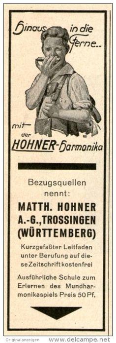 Original-Werbung/ Anzeige 1928 - HOHNER - HARMONIKA - TROSSINGEN - ca 35 x 110 mm