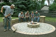 Old House landscape contractor Roger Cook builds beautiful circular patio that features a chill-chasing fire pit.This Old House landscape contractor Roger Cook builds beautiful circular patio that features a chill-chasing fire pit. Paver Fire Pit, Fire Pit Backyard, Backyard Patio, Fire Pit With Pavers, Backyard Seating, Outdoor Seating, Fire Pit Off Patio, Patio With Firepit, Fire Pit With Seating
