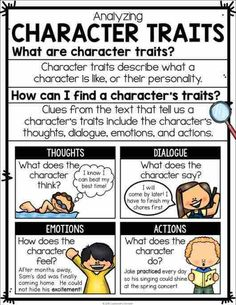 Reading Fiction Posters, Interactive Reading Fiction Anchor Charts, and Student Notebook sheets (perfect for interactive notebook pages!). Posters include story elements, character traits, theme, plot, protagonist and antagonist, setting, problem solution, and more! Character Traits Poster | Character Traits Anchor Chart