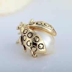 Pearl Ladybug Brooch