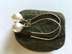 Minimalist Power Pearls for springtime shine! Great gift. https://www.etsy.com/listing/263239771/swarovski-pearl-wire-wrapped-earrings #etsymntt #giftforher #jewelry