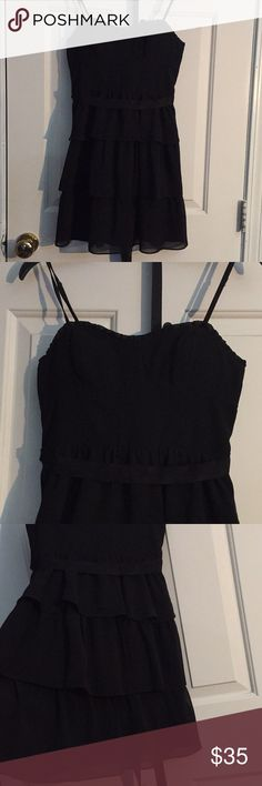 Little Black Dress 🖤 A size 2 perfect condition American Eagle Dress. Its the perfect little black dress! it has spaghetti straps and comes with cups inside dress so you don't have to wear bra! American Eagle Outfitters Dresses