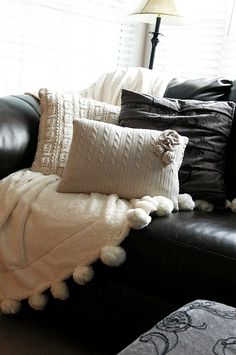 DIY Sweater Throw Pillows and flowers
