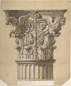 The British Order: Elevation of a Capital and Part of the Fluted Shaft James Adam (British, Edinburgh, Scotland 1732–1794 London) Date: 1762
