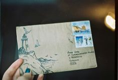 Item: One of Alistair's letters from Galilee. She'd draw a picture relevant to the events detailed in the letter on the envelope. Al used a letter opener on the side to preserve the picture.
