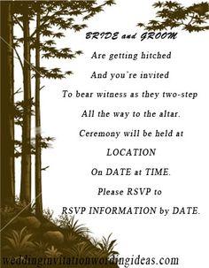 country wedding invitation wording, very cute. #dawninvitescontest ...
