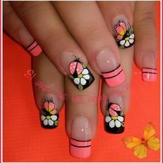 Black, White, & Coral Nails With Sweet Lady Bugs, Butterflies, & Flowers! Nail Designs Spring, Toe Nail Designs, Fancy Nails, Cute Nails, Spring Nails, Summer Nails, Long Acrylic Nails, Pretty Nail Art, Boxing Day