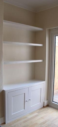 Amazing Unique Ideas: How To Make Floating Shelves floating shelf ikea bedside tables.Floating Shelves With Lights Built Ins. Living Room Storage, New Living Room, Home And Living, Living Room Decor, Alcove Ideas Living Room, Built In Cupboards Living Room, Living Room Built Ins, Corner Unit Living Room, Dining Room Playroom Combo