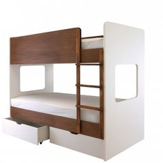 Aspace Coco Bunk -   A modern design children's bunk bed (full adult size) with two huge underbed storage drawers and striking cut out end panels all in a stunning white and dark chocolate finish.      Some assembly required (or add assembly below).     Ladder can be positioned at either end.