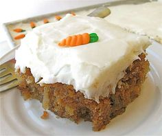This carrot cake is SO moist with the addition of pineapple (you won't even know it's there) #carrotcake