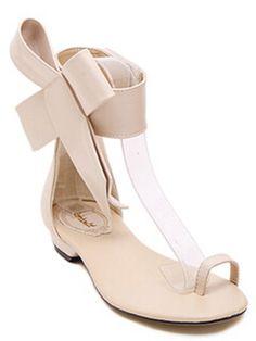 Apricot Bow Flip Flat Sandals -SheIn(Sheinside) Mobile Site