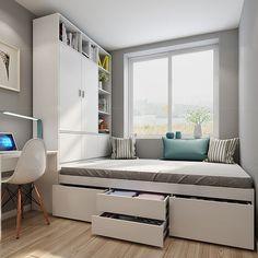 Small Room Design Bedroom, Small Bedroom Interior, Home Room Design, Room Ideas Bedroom, Modern Bedroom Design, Bedroom Layouts, Home Bedroom, Home Interior Design, Very Small Bedroom