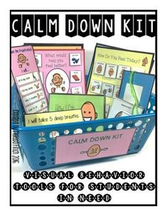 """Calm Down Strategies for your classroom! This huge pack is filled of different supports for students with behavioral needs. All of the products can be printed, assembled and placed in a """"Calm Down Kit"""" box for students to pull out when feeling overwhelmed or anxious."""