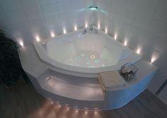 corner bathtub with led lights for modern bathroom design