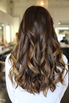 Balayage highlight: Rich brunette with caramel balayage highlights. Color by Kazumi Morton. by helena