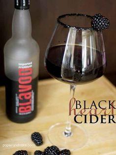 Serve black cocktails in black-rimmed glasses. | 21 Ways To Get Scary Drunk On Halloween