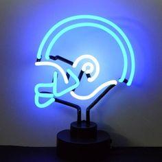 White Football Helmet Neon Table Top Sculpture