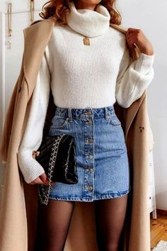 Chic Winter Outfits, Cute Casual Outfits, Stylish Outfits, Fall Outfits, Grunge Outfits, Denim Skirt Outfit Winter, Summer Outfits, Winter Chic, Winter Fits
