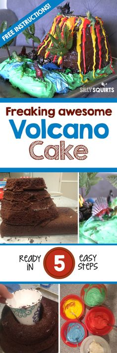 Freaking awesome volcano cake in five easy steps Birthday Cake Decorating, Cake Decorating Supplies, Decorating Tips, Cupcakes Decoration Awesome, Cake Designs For Girl, Volcano Cake, 4th Birthday Cakes, Birthday Ideas, Birthday Parties