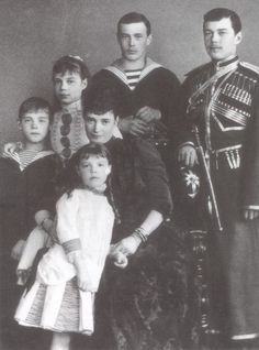 Nicholas II of Russia with his siblings and his mother,1888. He ascended the throne as Tsar in 1894, the last of the Romanov dynasty.  The family was executed in July, 1918 after the Bolshevik Revolution.