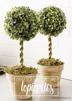 Grab a few terra cotta pots, paint, and faux greenery balls to get started to make these DIY Topiary Trees.
