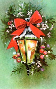 Vintage 70's Christmas lantern card.