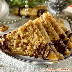 Low-Carb-Nussecken mit Marmelade Tasty Bakery, Sweet Little Things, Cakes And More, Biscotti, Apple Pie, Christmas Cookies, Waffles, Brunch, Food And Drink