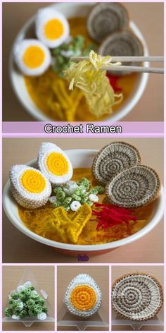 Crocheted Japanese ramen noodles look so real - Crochet Appliques / Stitc . - Crocheted Japanese Ramen Noodles Look So Real – Crochet Appliques / Stitches – - Crochet Diy, Crochet Amigurumi, Crochet Food, Love Crochet, Crochet Crafts, Crochet Dolls, Crochet Projects, Food Patterns, Crochet Toys Patterns