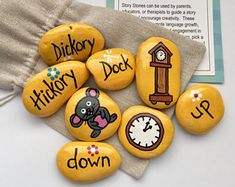 These make great birthday party favors! Let your child re-tell the famous nursery rhyme The Itsy Bitsy Spider in his or her own words! Teach the key prepositions In, Out, Up, Down in a fun and creative way! (Also see my popular Old MacDonald Story Stones: Kids Toys For Christmas, Christmas Rock, Christmas Gifts, Easter Story, Party Favors, Family Painting, Story Stones, Rock Painting Designs, Rock Crafts