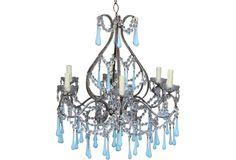 Crystal Chandelier w/ Blue Murano Drops