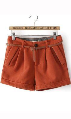 Leisure woolen shorts with belt orange cute