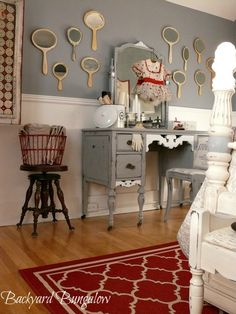 guest bedroom redecorated, bedroom ideas, design d cor, Rustic old red cabinet filled with European grain sacks canning jars and marmalade crocks