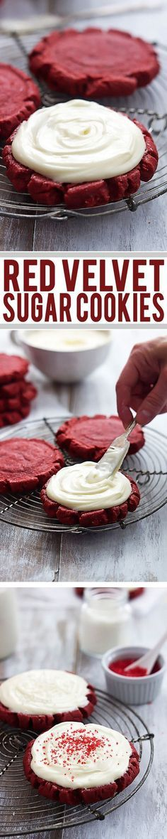 The BEST soft and thick red velvet sugar cookies with rich cream cheese frosting. | Creme de la Crumb