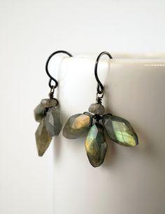 Sweet little wire wrapped labradorite flower earrings. Made by Calliope Jewelry.