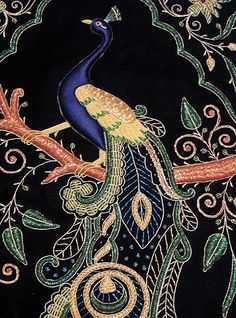 Peacock Jewel Carpet (Tapestry) from Agra, Uttar Pradesh, India