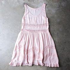lace trim trapeze slip dress - pink - shophearts - 1