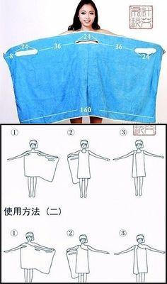 Tohle by šlo udělat z ručníku z Decathlonu a pak by se dal prakticky nosit jako jednoduché šaty (bez otravného zastrkování a padání)