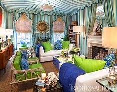 A tented room includes many corners. Design by? Please let me know if this is your design. Facing sofas encourage conversation while a lighted cocktail table adds a… Traditional Interior, Traditional House, Modern Interior, Corner Window Treatments, Custom Window Treatments, Lanai Room, Living Room Colors, Living Rooms, Family Rooms