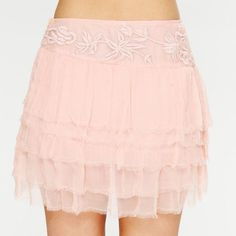 Free People Pink Embroidered Raw Chiffon Skirt NWT and sold out everywhere! This skirt is gorgeous!! I bought it to use in a photoshoot (I'm a photographer) but never did, and it's been neglected for too long! Free People Skirts