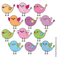 Birds Digital Clipart COMMERCIAL USE Download Bird Pink Blue Purple Green Tweet Tweet Bird Birthday Party Card Making VECTOR images 10059