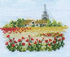 Poppyfield Small cross stitch kit by Derwentwater Designs, part of their 'Minuets' range. Contents: 14 count vintage blue aida, cotton threads, chart, needle and full instructions. Cross Stitch House, Small Cross Stitch, Counted Cross Stitch Kits, Cross Stitch Flowers, Cross Stitching, Cross Stitch Embroidery, Cross Stitch Patterns, Cross Stitch Numbers, Cross Stitch Landscape