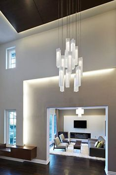 Modern foyer chandelier, designed specially for high ceiling spaces, best as staircase lighting - Kronleuchter High Ceiling Lighting, Ceiling Light Fixtures, Ceiling Lights, Ceiling Canopy, Modern Ceiling, Ceiling Beams, Entryway Chandelier, Chandelier Lighting, White Chandelier