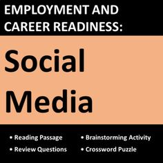 Workplace social media lesson helps students control their online presence safely and professionally to enhance employment opportunities. Designed for CTE, vocational, life skills, business, and work skills students.