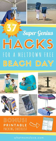 Beach hacks tips and tricks for a fun family vacation with kids. Clever ideas for summer days at the beach including the best products DIY and a free packing list! Care Skin Condition and Treatment Oil Makeup Beach Vacation Tips, Beach Trip, Vacation Ideas, Vacation Packing, Vacation Spots, Vacation Games, Summer Vacations, Vacation Outfits, Vacation Destinations