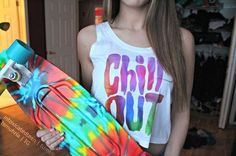 Image via We Heart It #acid #chillout #galaxy #graphictee #skateboard #tiedye #tumblr #croptop #pennyboard