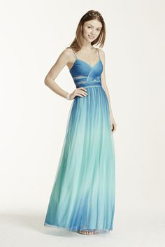 Spaghetti Strap Cutout Ombre Ball Gown - Turquoise (Blue), 1