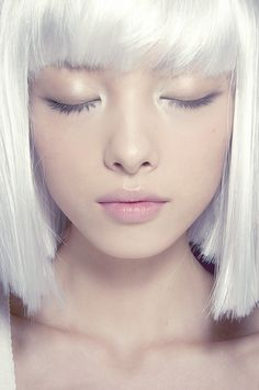 Straight white bob with blunt bangs (a.k.a. what my hair will look like next weekend).