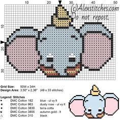 Dumbo Disney Cuties free cross stitch pattern 50x34 5 colors