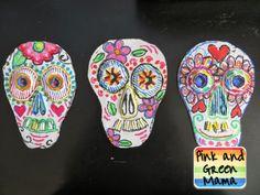 Dia-de-la-Muertos-Day-of-the-Dead-Skulls-Craft-Cardboard-Art-Project-Oil-Pastel